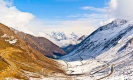 Overlook Siguniang Mountain from Balang mountain Stock Photos