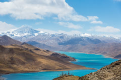 Overlook snow mountain and holy lake Royalty Free Stock Photos
