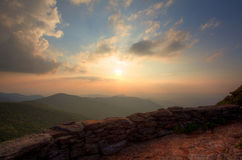 Overlook sunset in the mountains Stock Photography