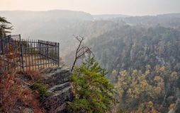 Overlook at Tallulah Gorge Viewing the Blue Ridge Mountains Royalty Free Stock Image