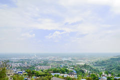 Overlook to townsite in cloudy spirng Stock Photography