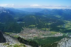 Overlook of the township of Mittenwald amid the foothills of the Austrian Alps. Stock Images