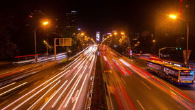 Overlook the traffic on Yansha flyover,Beijing stock video footage