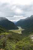 Overlook view of Routeburn Valley from above Routeburn Falls Stock Photo