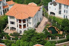 Overlook the villa. Overlook the luxury villa from the tall building Royalty Free Stock Photos