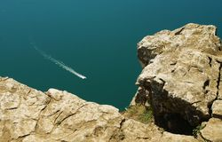 Overlooking. View on bourget lake  from the top of cliff in france Stock Photography
