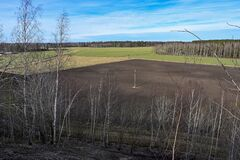 overlooking agriculture fields with hunting tower in center