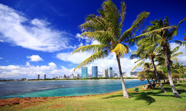 Overlooking Ala Moana beach park reserve. A view of Ala Moana from the park-lands point, situated on the island of Oahu, Hawaii Stock Photography