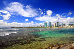 Overlooking ala moana with crystal clear water. A view of Ala Moana reef and city from the park-lands , situated on the island of Oahu, Hawaii Stock Image