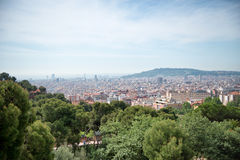 Overlooking the area of Parc Guell, Barcelona. Spain, a popular public garden designed by Catalan architect Antonio Gaudi Stock Photography