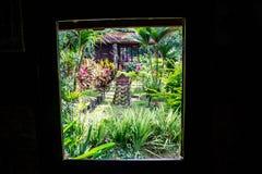 Overlooking on balinese garden Royalty Free Stock Photos