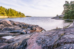 Overlooking the Baltic sea. In early morning  from a small rocky island  on the coast of Sweden Stock Images