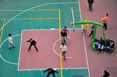 Overlooking Basketball match Royalty Free Stock Photography