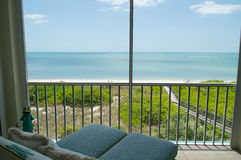 Overlooking beach from balcony Royalty Free Stock Photography