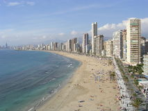 Overlooking the beach in Barcelona, Spain. View of the beach in Barcelona, Spain royalty free stock photography