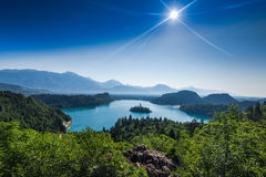 overlooking Bled lake panoramic vista in full summer sun stock images