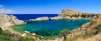 Overlooking the blue Aegean Sea Lindos, Greece. Overlooking the blue Aegean Sea from the Acropolis, Lindos, Greece Royalty Free Stock Photos