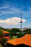 Overlooking the buildings at malacca Stock Images