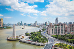 Overlooking the bund in shanghai. Overlooking the bund in daytime , shanghai , China Royalty Free Stock Photo