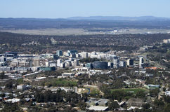 Overlooking Canberra, the Capital of Australia. Squat skyscrapers dot Canberra`s city center royalty free stock photography