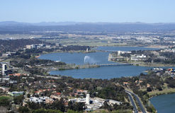 Overlooking Canberra and the Captain Cook Memorial Water Jet Royalty Free Stock Images