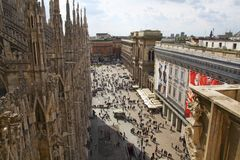 Overlooking Cathedral Square in Milan, Italy Royalty Free Stock Photo