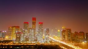 Timelapse of Overlooking Cbd District Of Beijing. Overlooking Cbd District Of Beijing stock video
