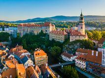 Overlooking Cesky Krumlov in the morning stock photography
