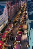 overlooking a christmas fair in the town of Schwerin from a Ferr royalty free stock photo