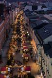 Overlooking a christmas fair in the town of Schwerin from a Ferris wheel in november 302018 royalty free stock images