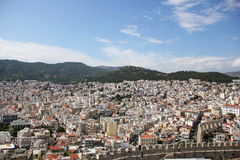 Overlooking the city of kavala, the old aqueduct of kamares stock image