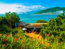 Overlooking the city of Nha Trang with Vinpearl island. Vietnam decape 15 2015. Views of the Bay and Nha Trang on the horizon from the island of Vinpearl. In Stock Images