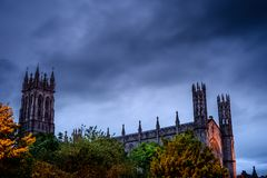 Overlooking the City. That nice high and huge Church keeps an eye around the City under a dreadful sky, St Patrick`s Church, Dundalk, County Louth, Ireland Royalty Free Stock Images