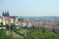 Overlooking the city of Prague from the hillside Stock Image