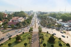 Overlooking the city of Vientiane stock images