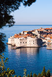 Overlooking city walls of old town of Dubrovnik Stock Photos