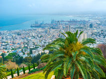 Overlooking the cityscape of Haifa. The cityscape of modern city of Haifa with the industrial port and coastal districts on the background, Israel royalty free stock photography
