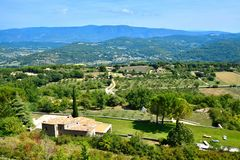 Overlooking the countryside of Provence from Saignon, France Stock Images