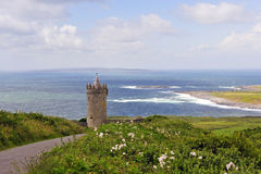 Overlooking Doolin. View overlooking Doolin,Co.Clare, Ireland with Doonagore Castle in foreground stock image