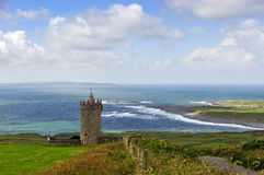 Overlooking Doolin. View overlooking Doolin,Co.Clare, Ireland with Doonagore Castle in foreground stock photography