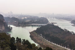 Overlooking Dujiang dam scenic area from Qinyan storied building Royalty Free Stock Photography