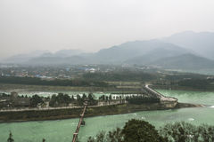 Overlooking Dujiang dam scenic area from Qinyan storied building Stock Photos