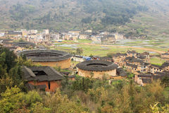 Overlooking fujian tulou Earthen in china Stock Photos