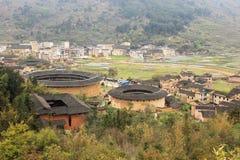 Overlooking fujian tulou Earthen in china Stock Photos