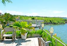 Overlooking garden terrace with nice view. stock photography