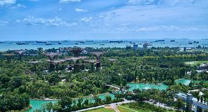 Overlooking Gardens by the Bay and Straits of Malacca Royalty Free Stock Photos