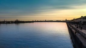 Overlooking the Garonne river and the docks of the city of Borde Royalty Free Stock Image