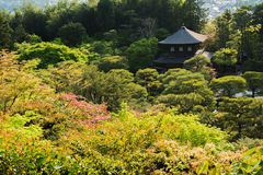 Overlooking the Ginkakuji Temple in Kyoto. Stock Photo
