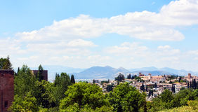 Overlooking Granada. A landscape view overlooking tropical Granada, Spain, with mountains in the background Royalty Free Stock Image