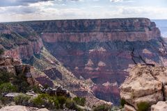 The Grand Canyon on a summer afternoon. Overlooking the Grand Canyon from the Southern Rim, west of Grand Canyon Village stock photography